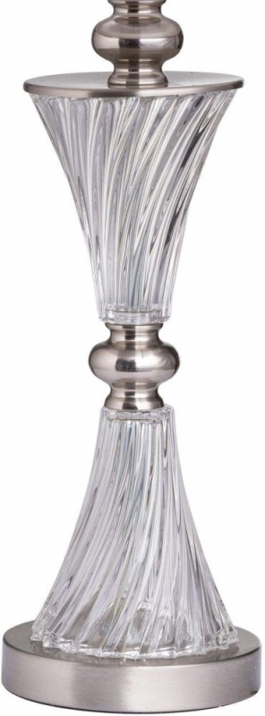 Hill Interiors Turned Glass Fluted Table Lamp with Velvet Coral Shade