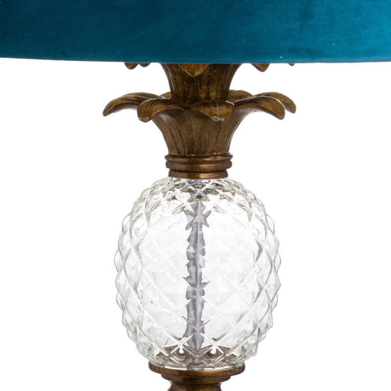 Hill Interiors Ananas Glass Pinapple Floor Lamp with Emerald Velvet Shade