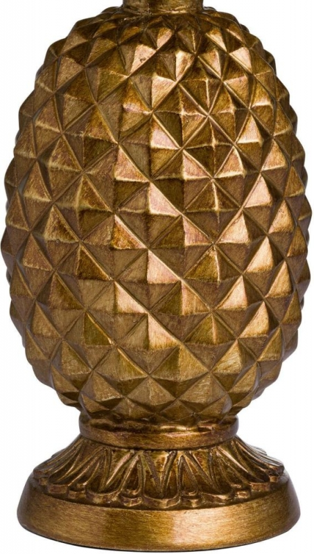 Hill Interiors Antique Gold Pineapple Lamp with Mustard Velvet Shade
