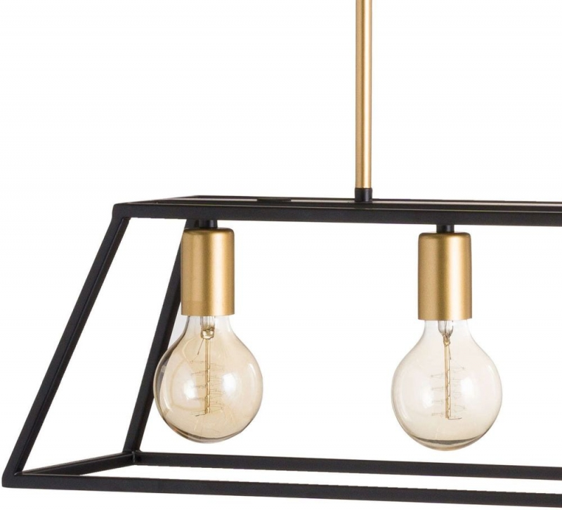 Hill Interiors Black and Brass Four Bulb Framed Light