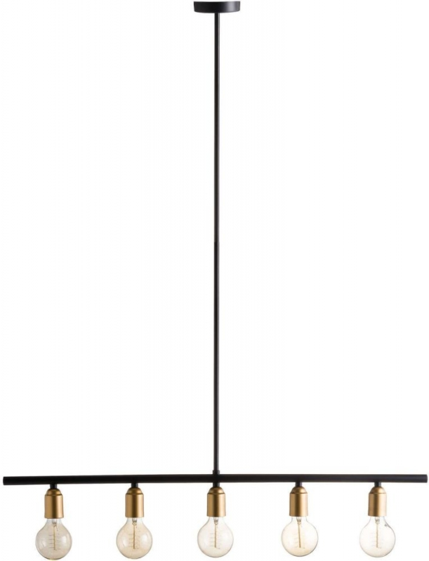 Hill Interiors Black and Brass Industrial Five Bulb Bar Light