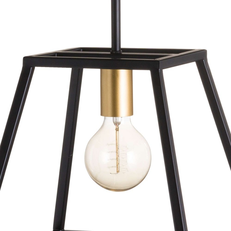 Hill Interiors Black and Brass Piped Pendant Light