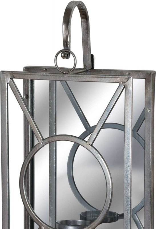 Hill Interiors Antique Silver Rectangle Mirrored Tealight Holder