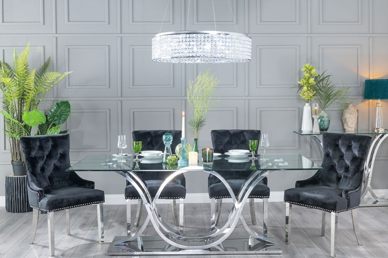 Urban Deco Wave Dining Table - Glass and Stainless Steel Chrome