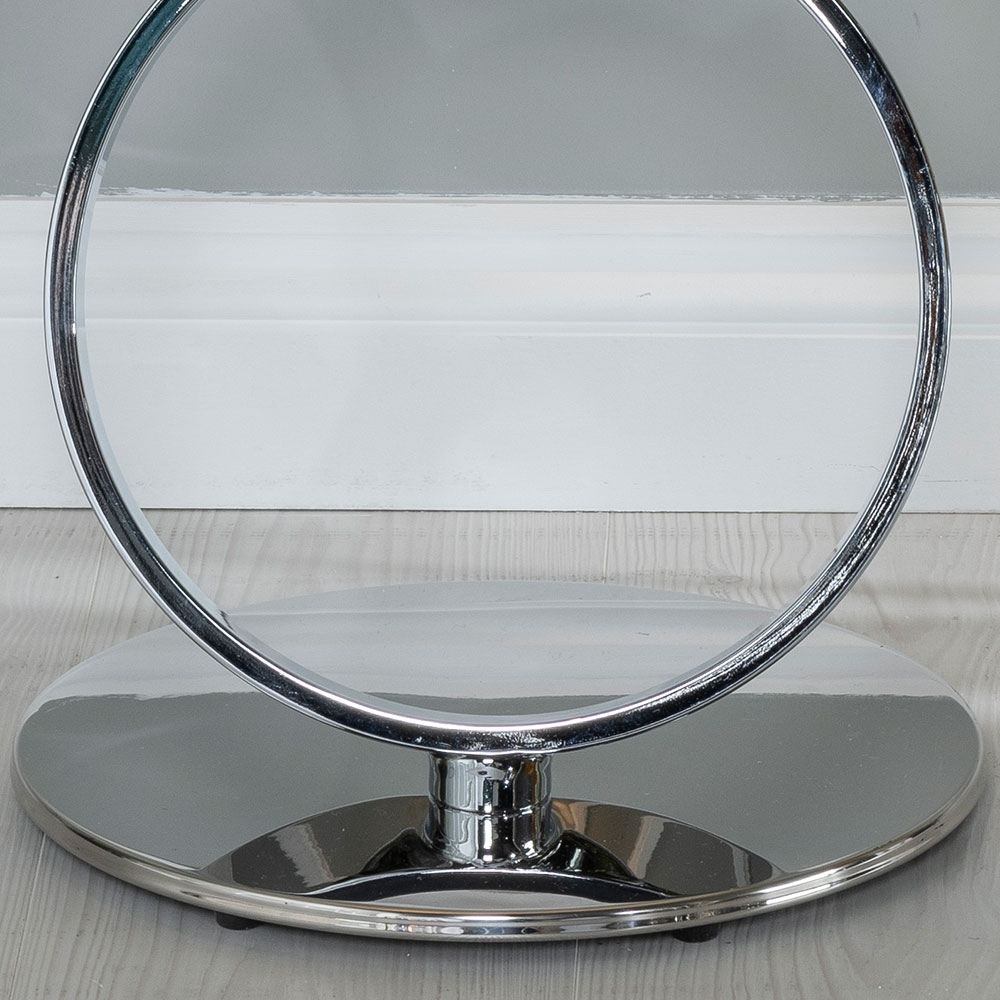 Urban Deco Rings Side Table - Glass and Stainless Steel Chrome