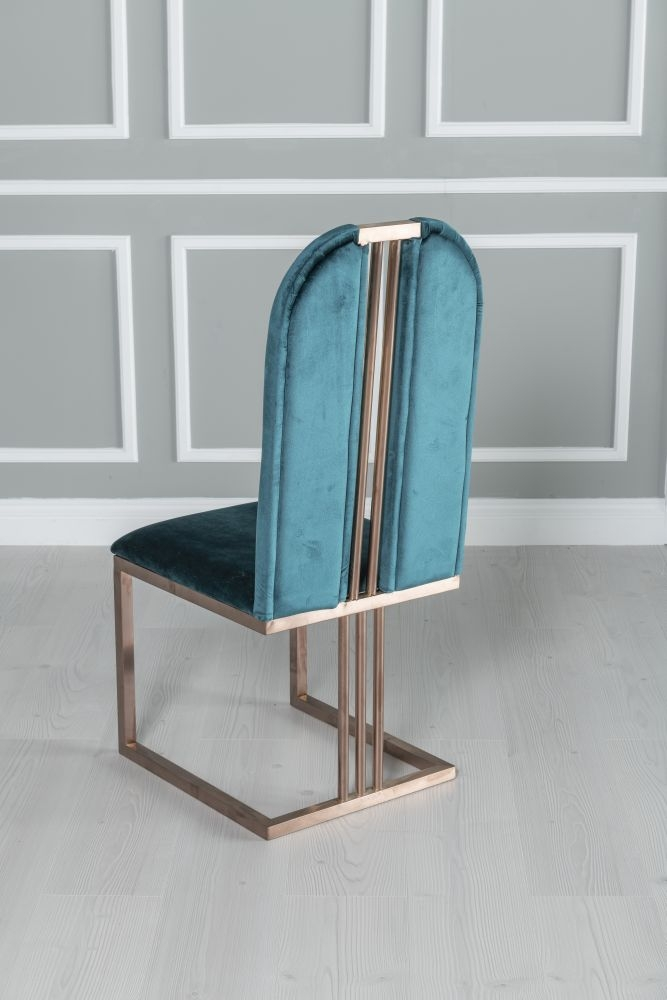 Urban Deco Troy Dining Chair - Green Fabric with Stainless Steel Bronze Legs