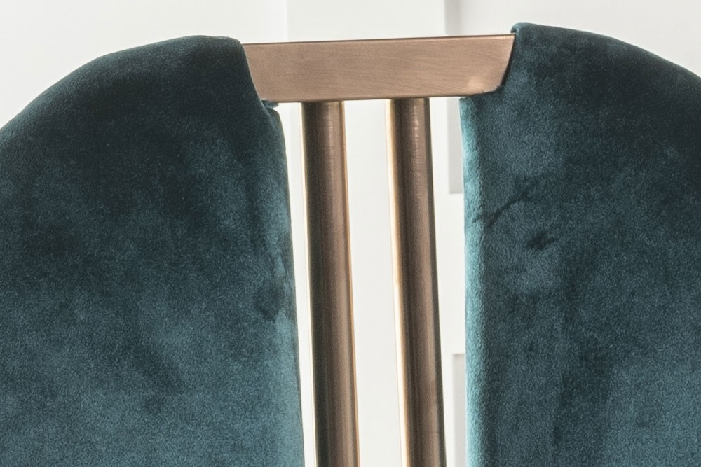 Urban Deco Troy Green Fabric with Stainless Steel Bronze Legs Dining Chair