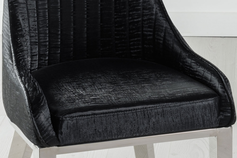 Allure Black Extra High Back Faux Leather Dining Chair with Chrome Legs