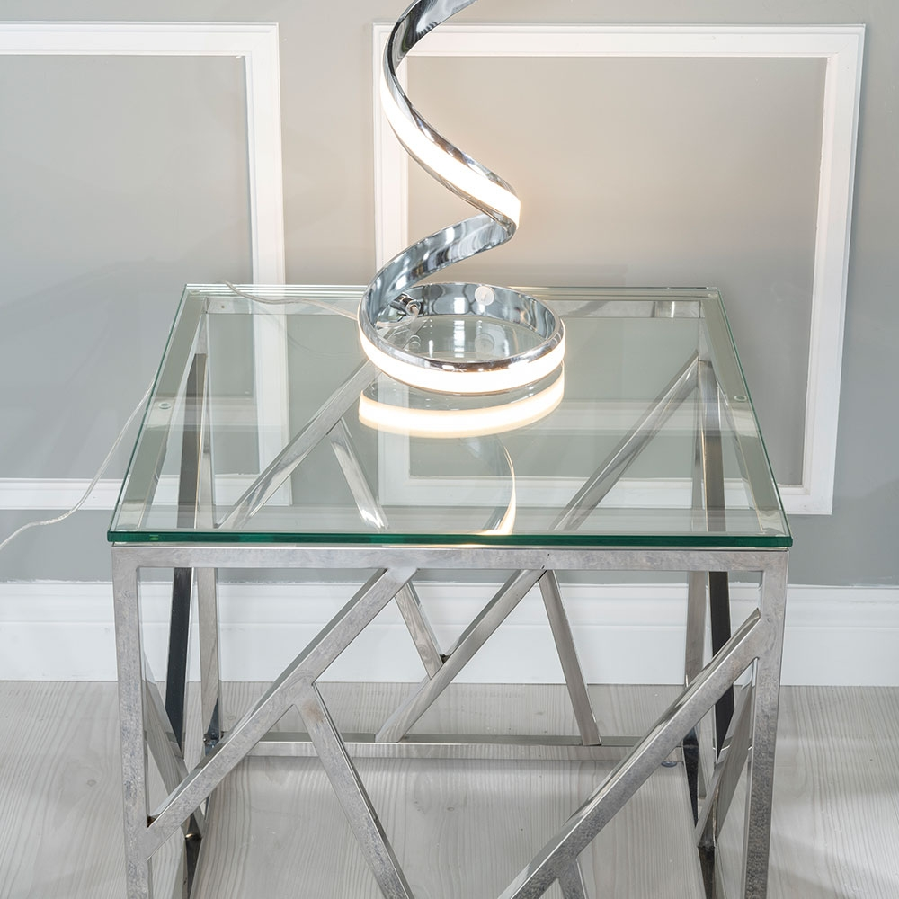 Urban Deco Maze Glass and Chrome Side Table