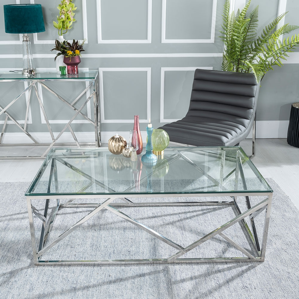 Urban Deco Maze Coffee Table - Glass and Stainless Steel Chrome