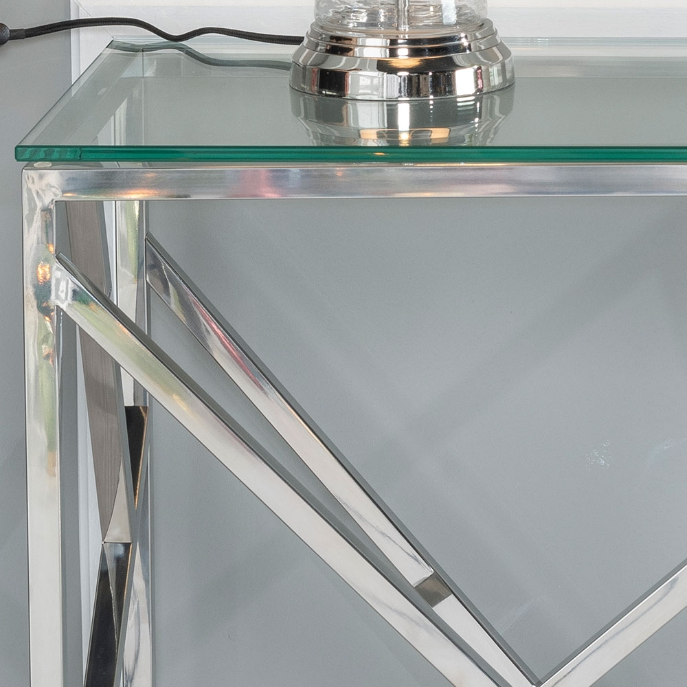 Urban Deco Maze Console Table - Glass and Stainless Steel Chrome