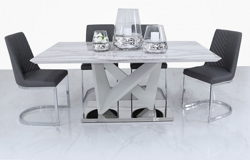 Paradis Marble Effect Dining Table and 4 Rougon Chairs