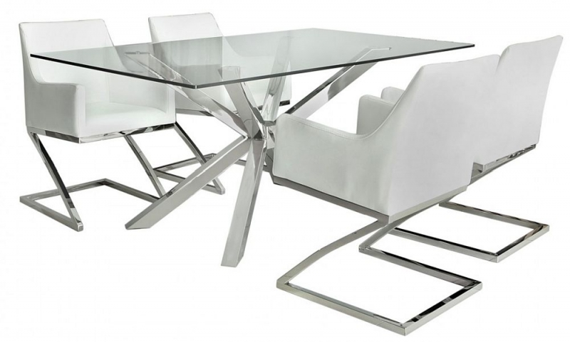 Aston Dining Table and 4 White Chairs - Glass and Chrome