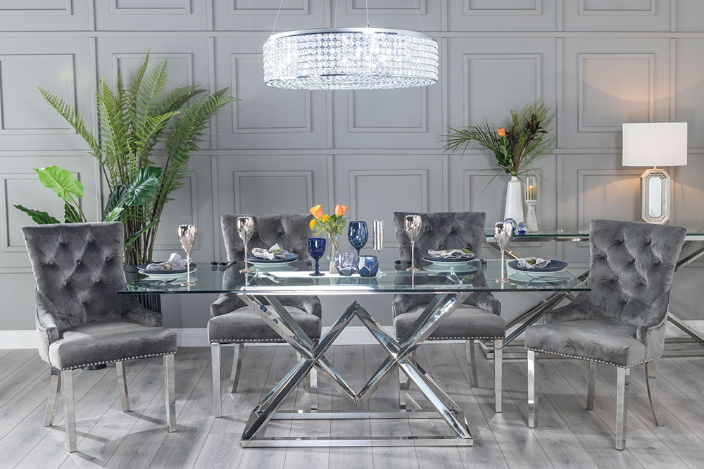 Urban Deco Pyramid Dining Table - Glass and Stainless Steel Chrome
