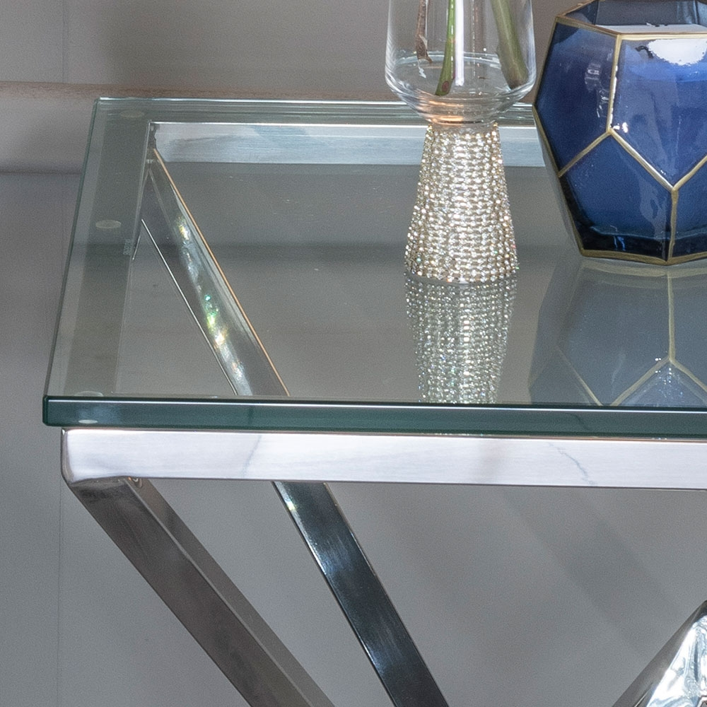 Urban Deco Pyramid Side Table - Glass and Stainless Steel Chrome