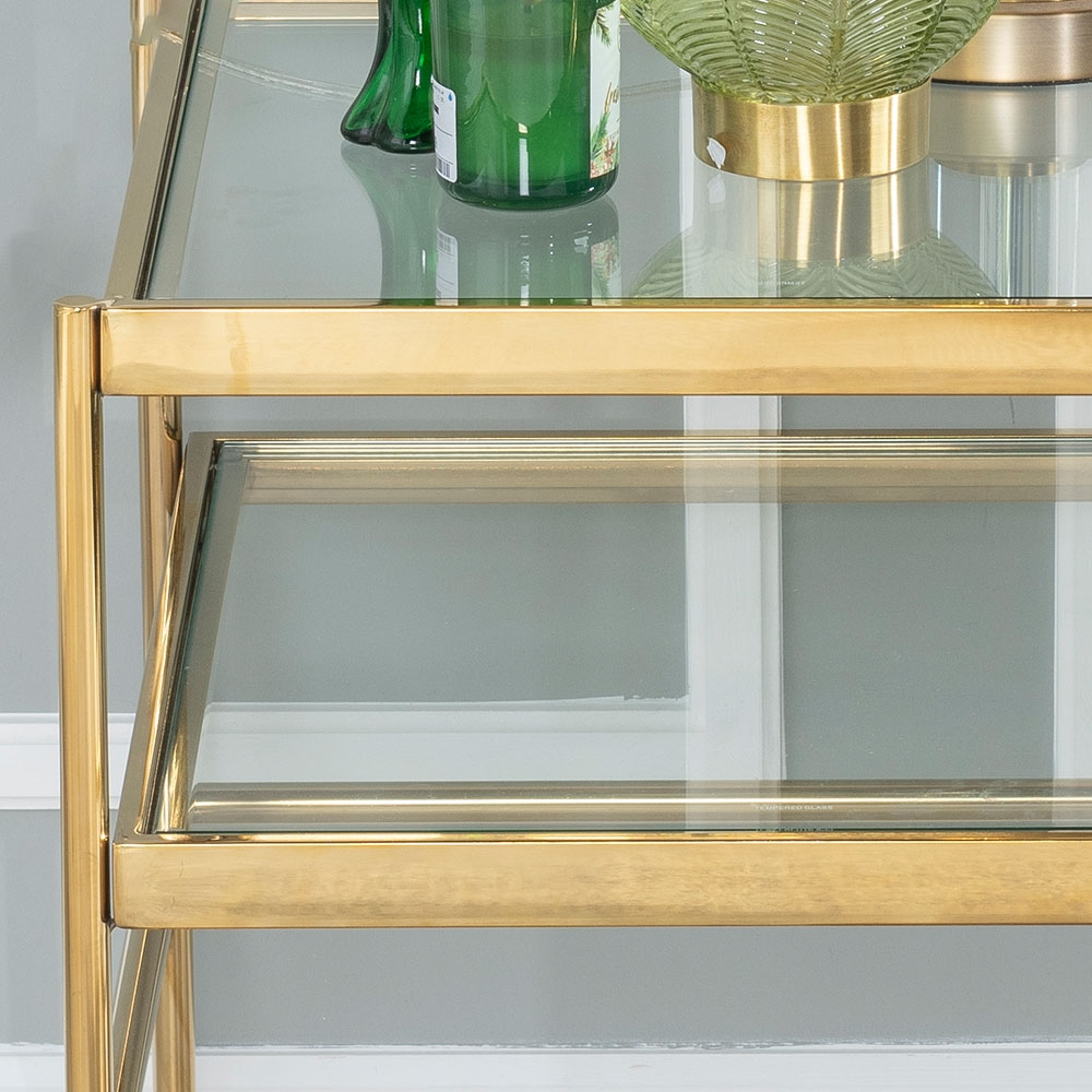 Urban Deco Baker Side Table - Glass and Stainless Steel Gold