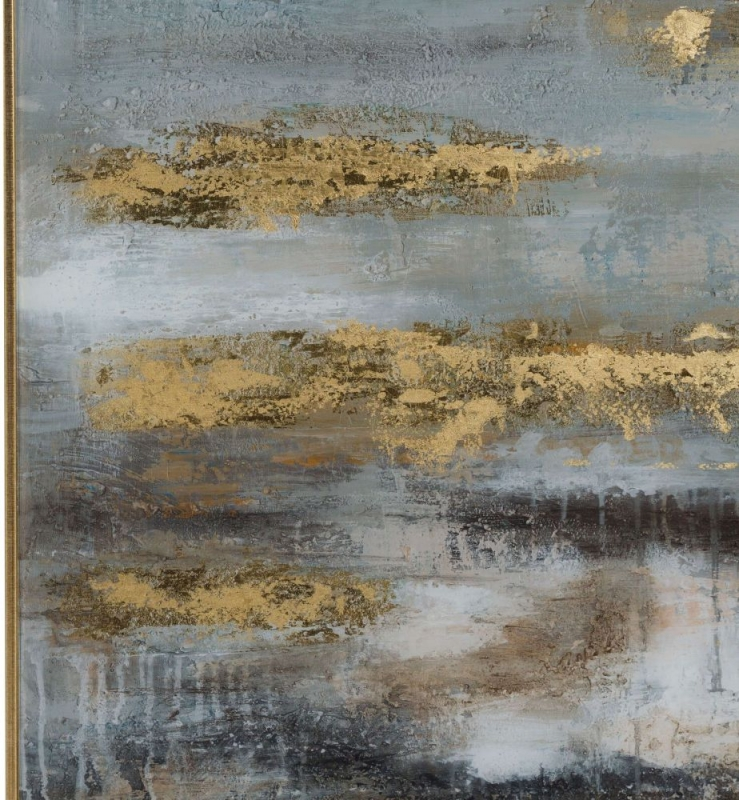 Hill Interiors Large Abstract Grey and Gold Glass Image with Gold Frame