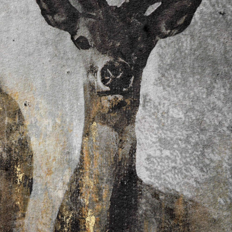 Hill Interiors Large Curious Stag Painting on Cement Board with Frame