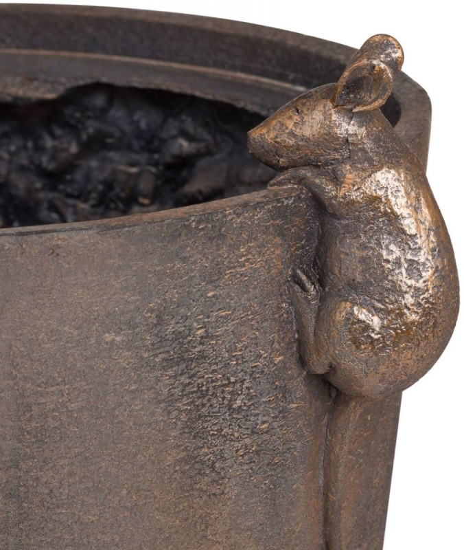 Hill Interiors Flower Pot with Mice Detail