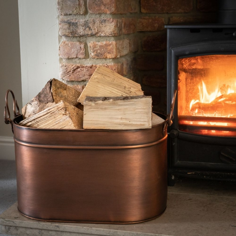 Hill Interiors Large Copper Log Bucket