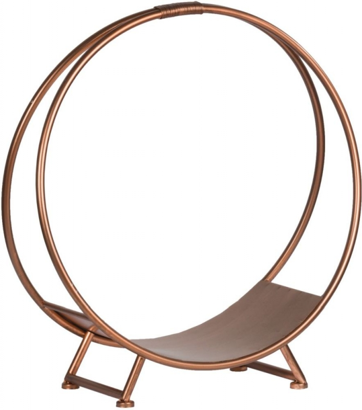 Hill Interiors Set of 3 Copper Finished Round Log Display Holders