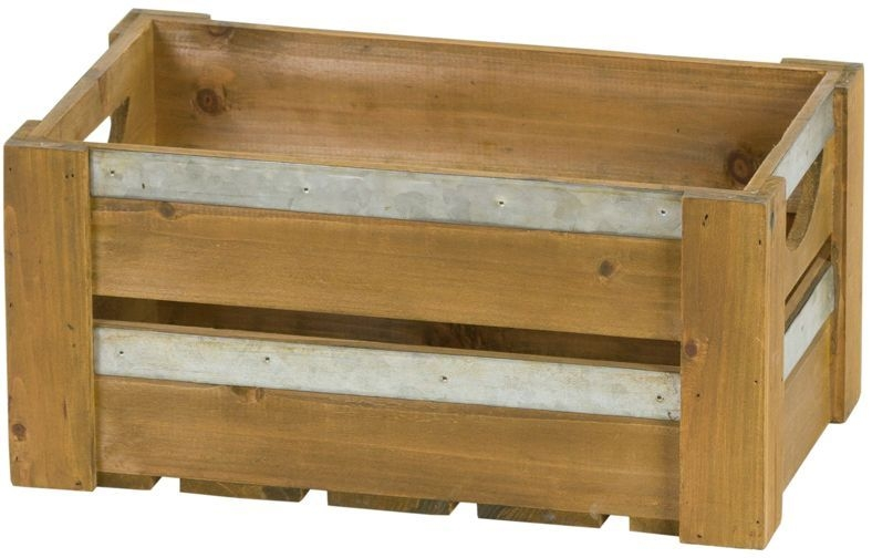 Hill Interiors Loft Collection Set of 3 Wooden Crates with Metal Braces