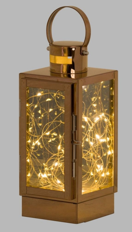 Hill Interiors Copper Lantern with Led Micro Lights