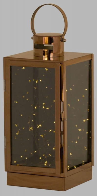 Hill Interiors Large Copper Lantern with Led Micro Lights