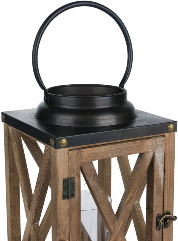 Hill Interiors Cross Style with Stud Detail Wooden Lantern