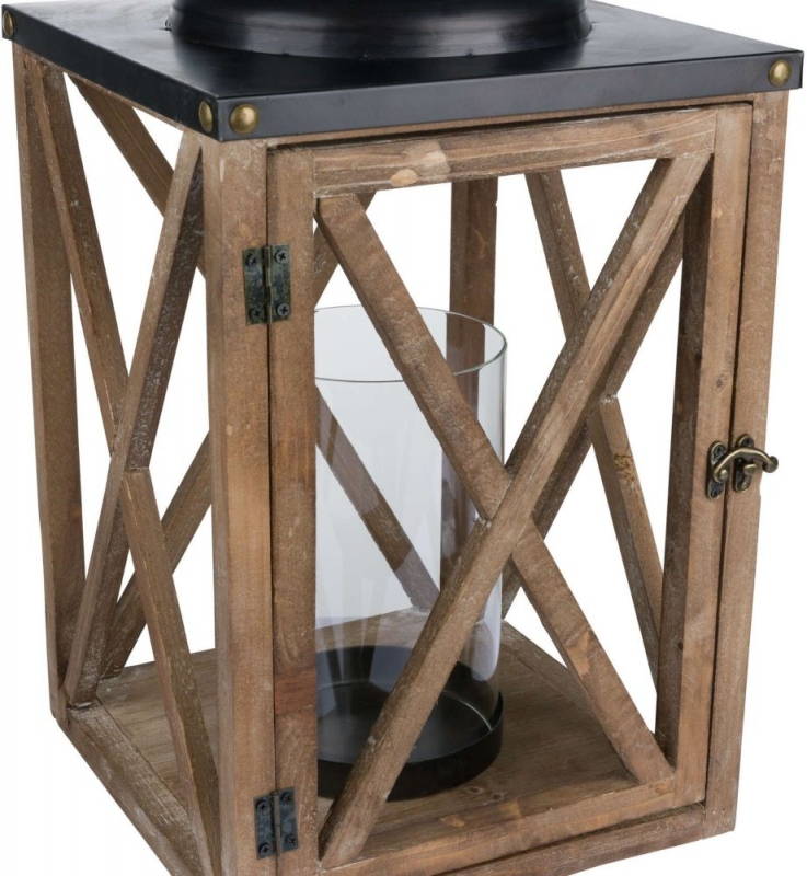 Hill Interiors Cross Style with Stud Detail Large Wooden Lantern