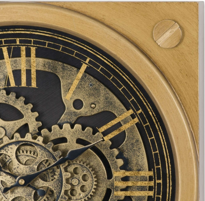 Hill Interiors Square Gold Moving Mechanism Clock