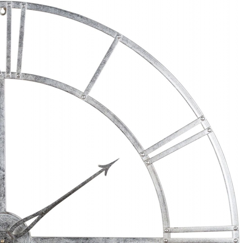 Hill Interiors Large Silver Foil Skeleton Wall Clock