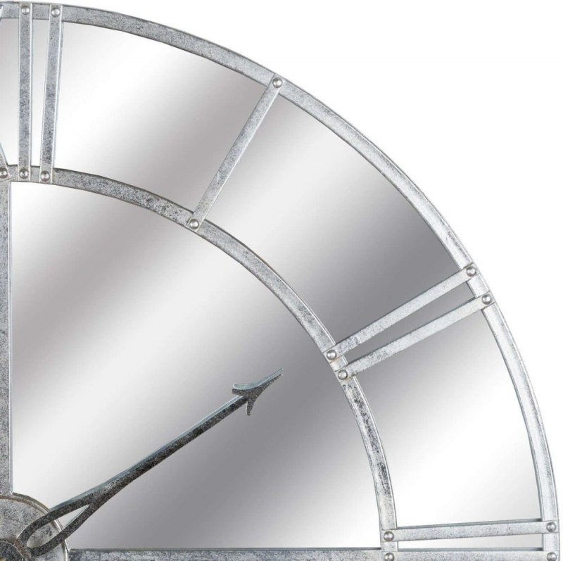 Hill Interiors Large Silver Foil Mirrored Wall Clock