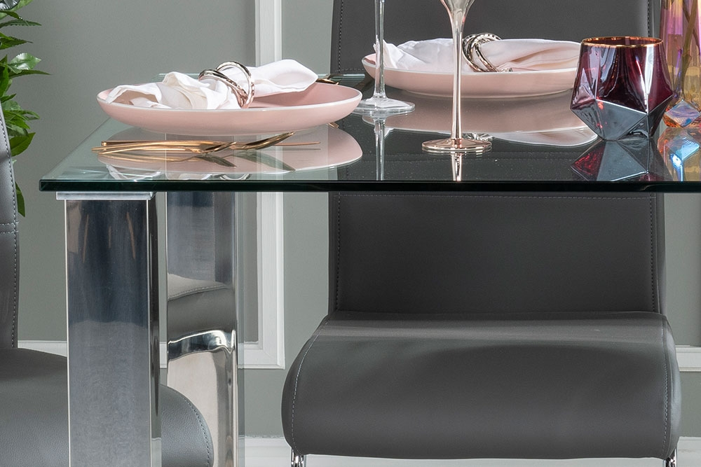Urban Deco Sophia Dining Table - Glass and Stainless Steel Chrome