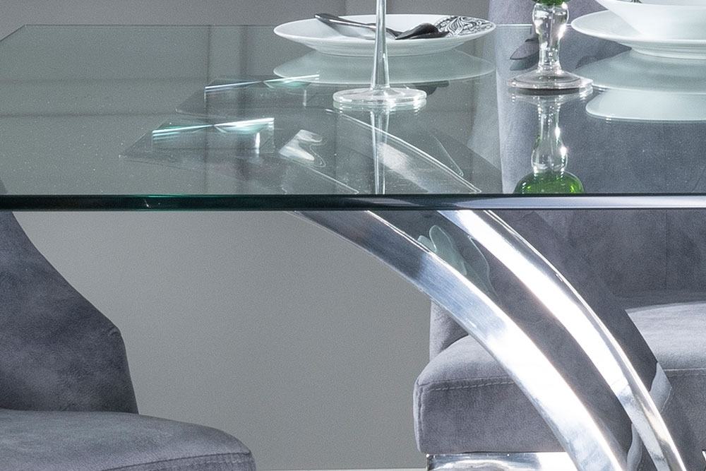Urban Deco Wave Glass and Chrome 200cm Dining Table and 6 Grey Knockerback Chrome Leg Chairs