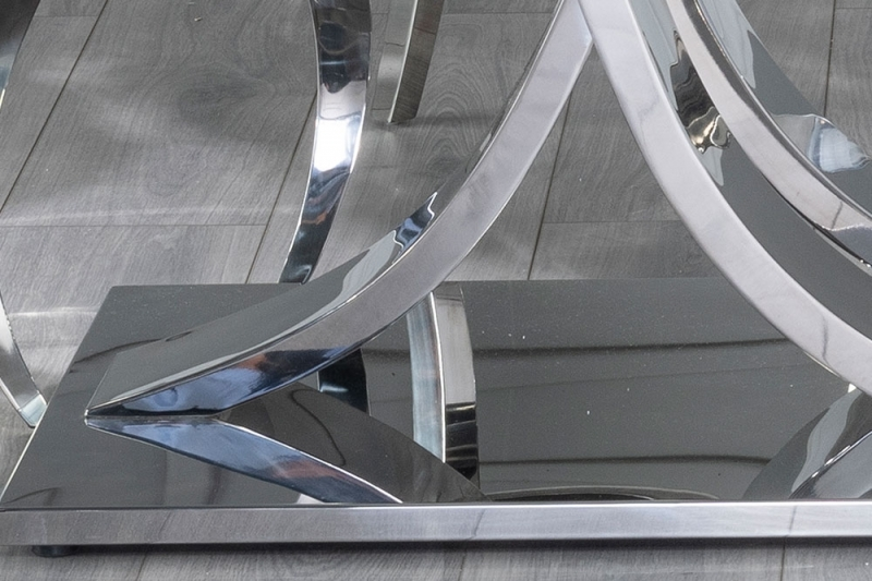 Urban Deco Wave Dining Table with Grey Velvet Knockerback Chairs - Glass and Stainless Steel Chrome