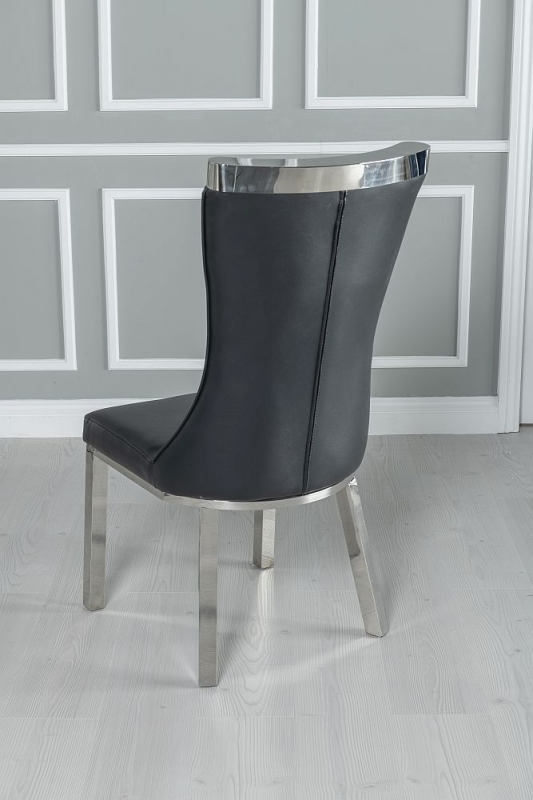 Urban Deco Delta Dining Table with Maison Black Faux Leather Chairs - Glass and Stainless Steel Chrome
