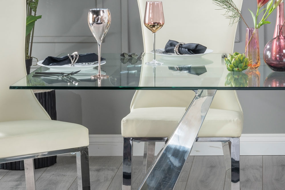 Buy Urban Deco Delta Glass and Chrome 200cm Dining Table with 4 Maison White Chairs and Get 2 Extra Chairs Worth £358 For FREE