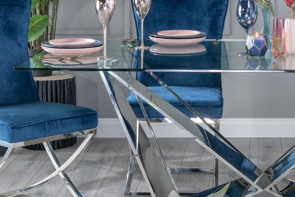 Buy Urban Deco Jazz 200cm Glass and Chrome Dining Table with 4 Lyon Blue Chairs and Get 2 Extra Chairs Worth £438 For FREE