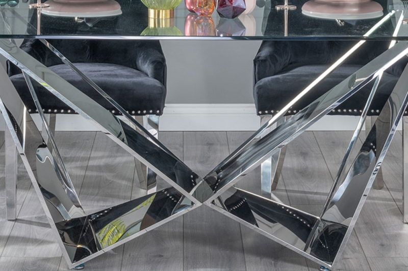 Buy Urban Deco Jazz Glass and Chrome 200cm Dining Table with 4 Black Knockerback Chrome Leg Chairs and Get 2 Extra Chairs Worth £358 For FREE