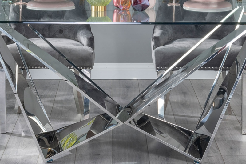 Urban Deco Jazz Dining Table with Grey Velvet Knockerback Chairs - Glass and Stainless Steel Chrome