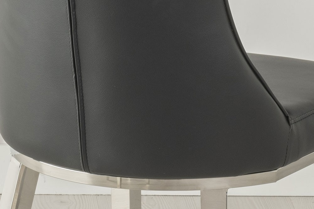 Urban Deco Maison Black Faux Leather and Chrome Dining Chair