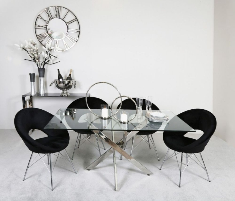 Nanty Dining Table and 4 Black Bayonne Chairs - Glass and Chrome
