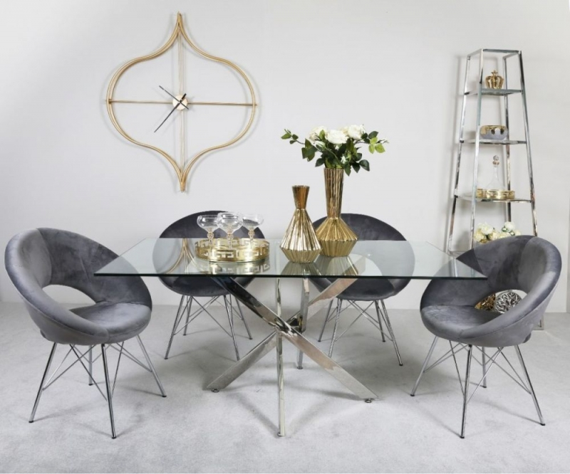 Nanty Dining Table and 4 Grey Bayonne Chairs - Glass and Chrome