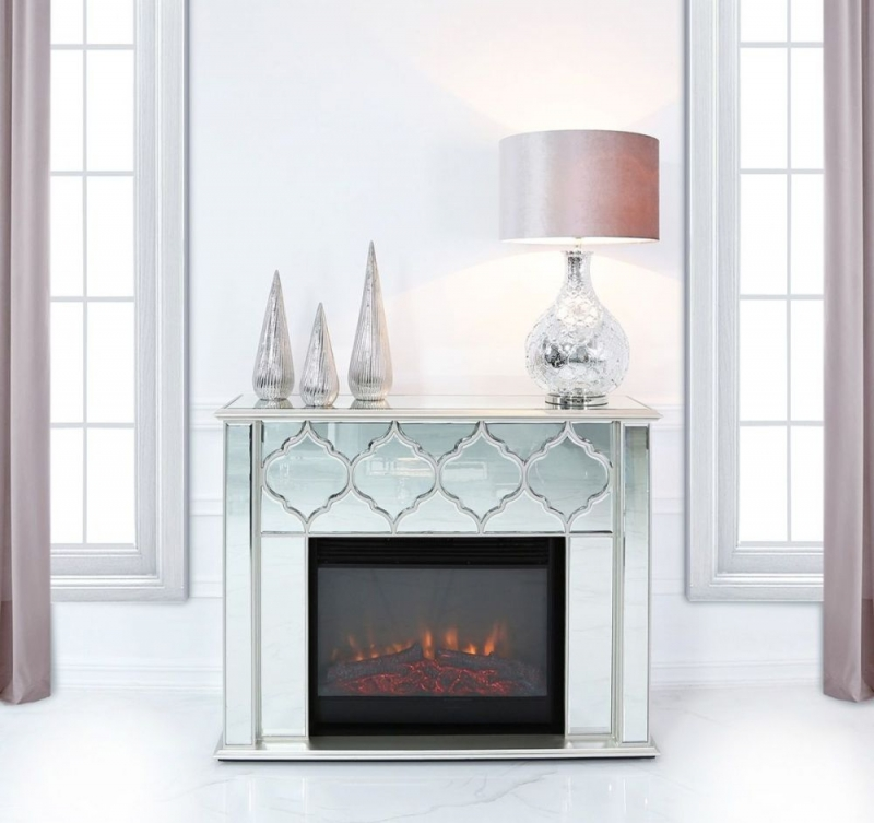 Morocco Silver Mirrored Fire Surround with Electric Fire