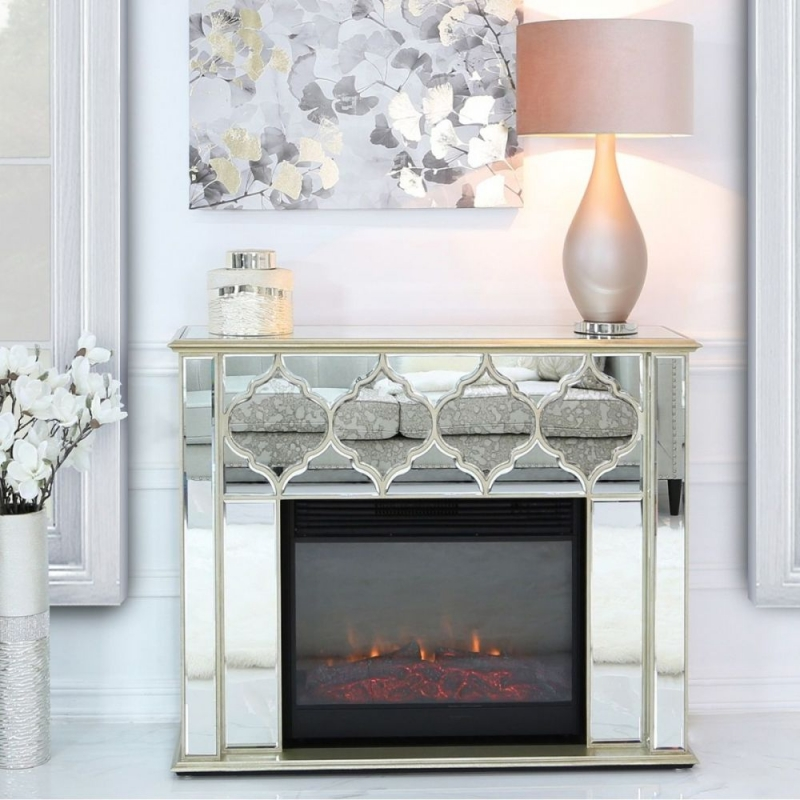 Morocco Gold Mirrored Fire Surround with Electric Fire