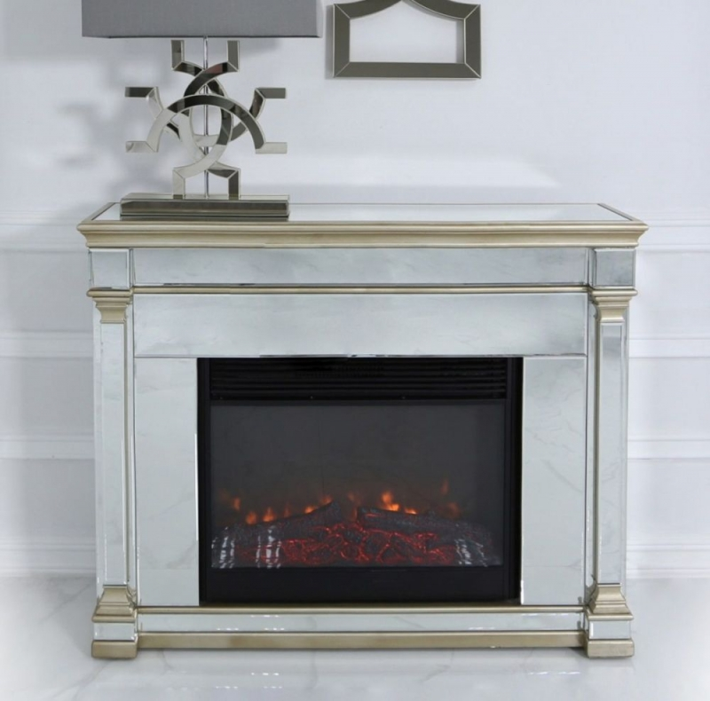 Killona Champagne Mirroreded Fire Surround with Electric Fire
