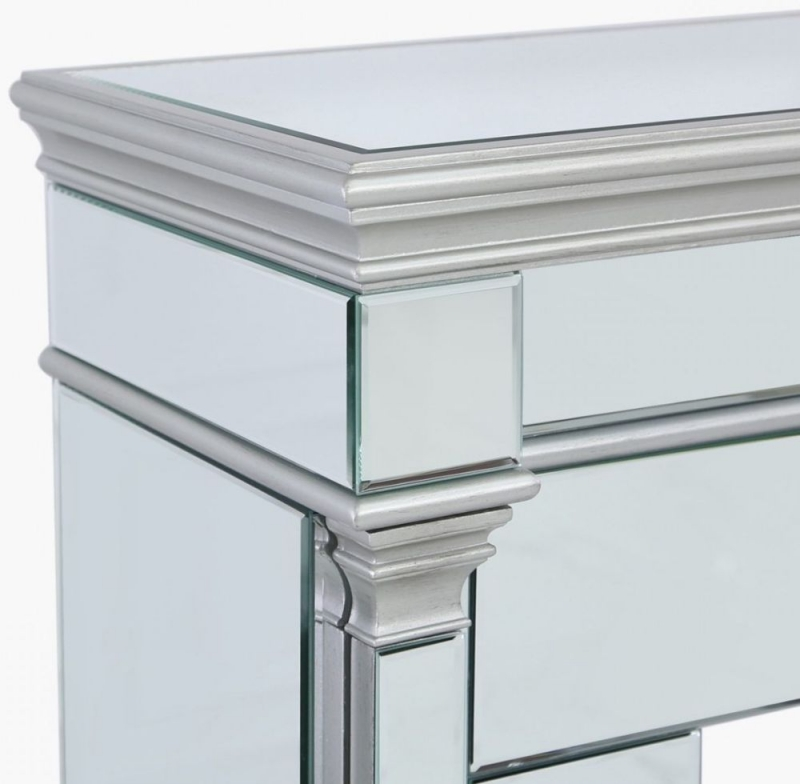 Killona Silver Mirroreded Fire Surround with Electric Fire