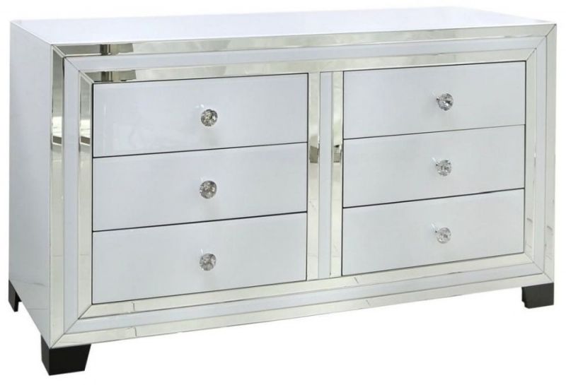 White Montague Mirrored 6 Drawer Chest