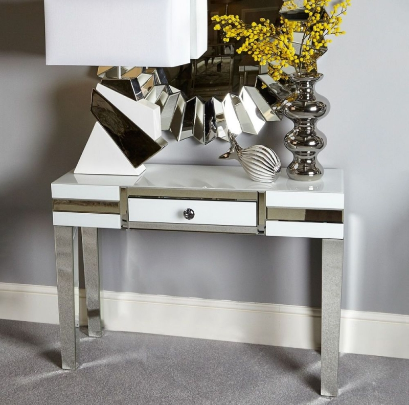 White Montague Mirrored 1 Drawer Console Table